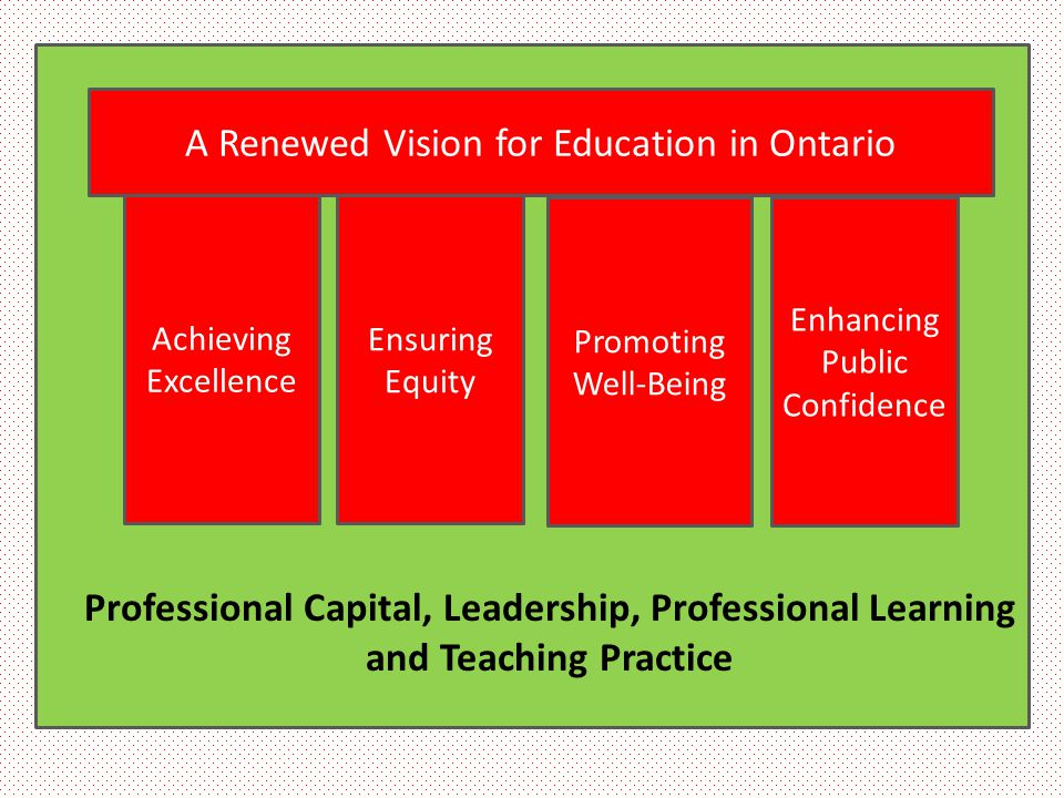 Achieving Excellence Ensuring Equity Promoting Well-Being Enhancing Public Confidence A Renewed Vision for Education in Ontario Professional Capital,