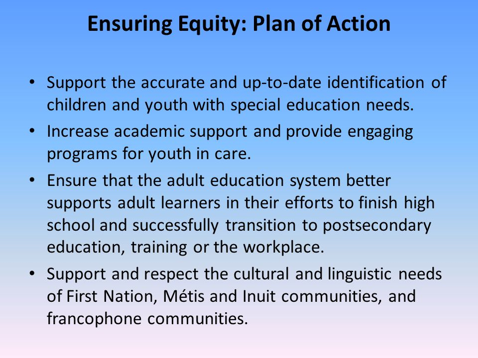 Ensuring Equity: Plan of Action Support the accurate and up-to-date identification of children and youth with special education needs. Increase academ