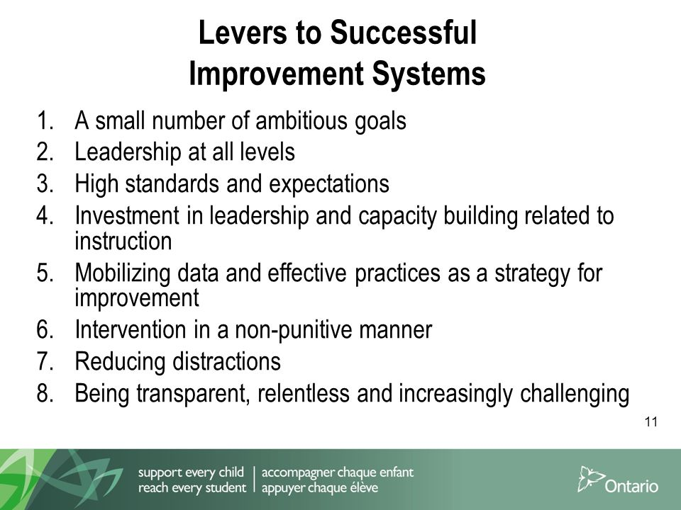 11 Levers to Successful Improvement Systems 1.A small number of ambitious goals 2.Leadership at all levels 3.High standards and expectations 4.Investment in leadership and capacity building related to instruction 5.Mobilizing data and effective practices as a strategy for improvement 6.Intervention in a non-punitive manner 7.Reducing distractions 8.Being transparent, relentless and increasingly challenging