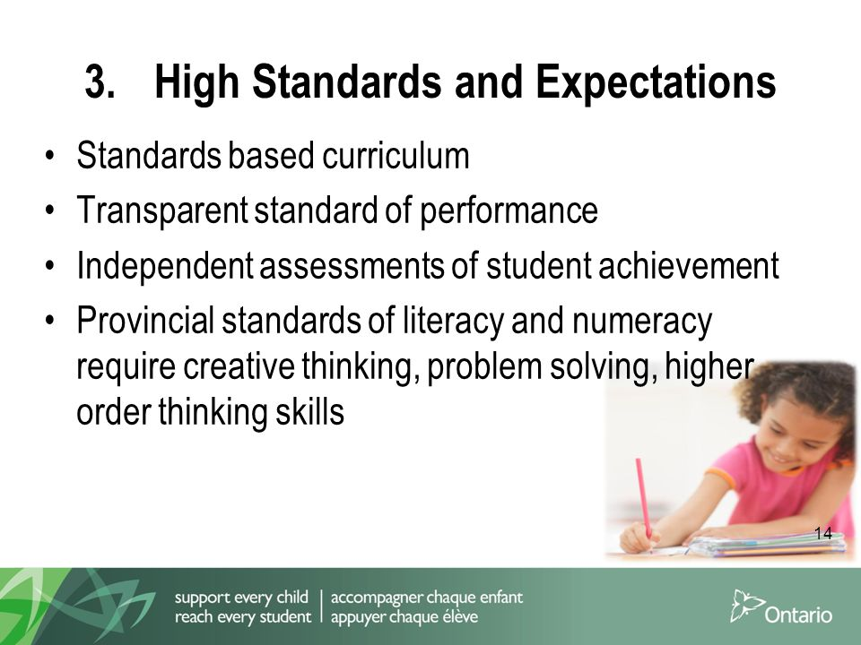 14 3.High Standards and Expectations Standards based curriculum Transparent standard of performance Independent assessments of student achievement Provincial standards of literacy and numeracy require creative thinking, problem solving, higher order thinking skills