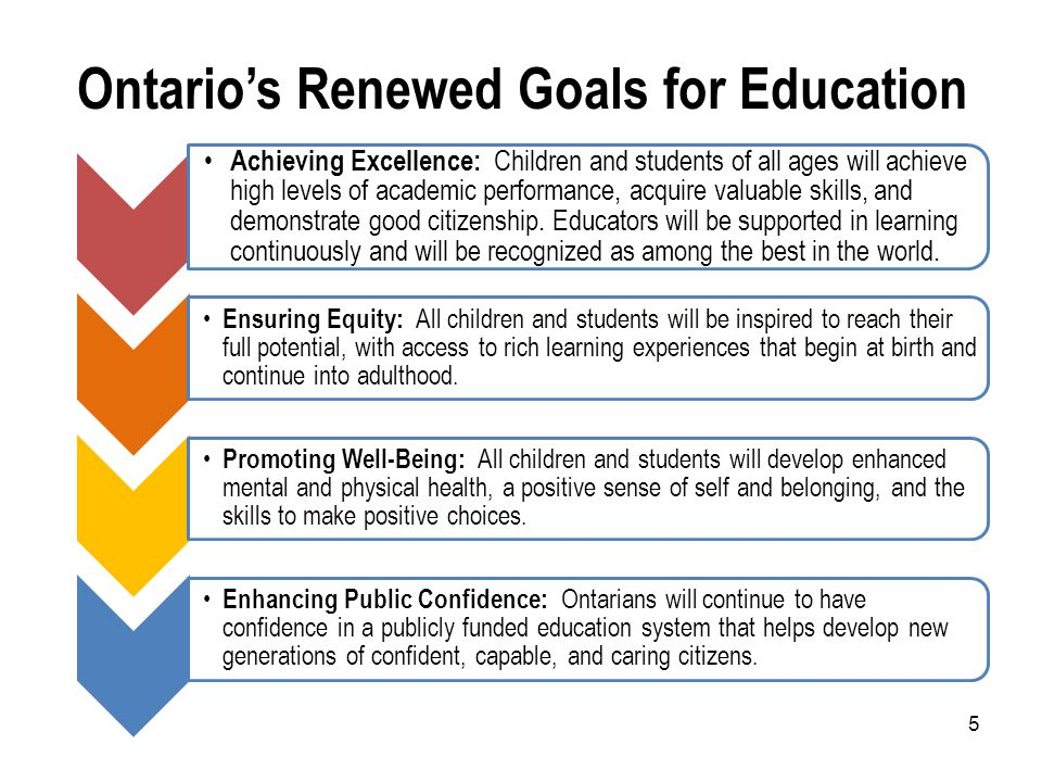 Ontario's Renewed Goals for Education 5 Achieving Excellence: Children and students of all ages will achieve high levels of academic performance, acquire valuable skills, and demonstrate good citizenship.
