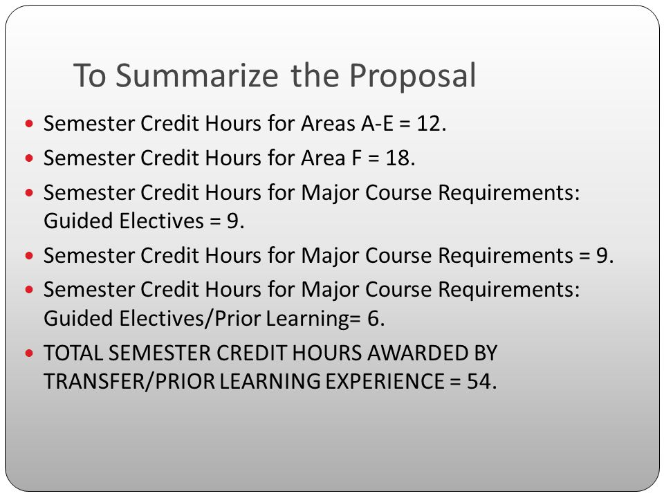 To Summarize the Proposal Semester Credit Hours for Areas A-E = 12.