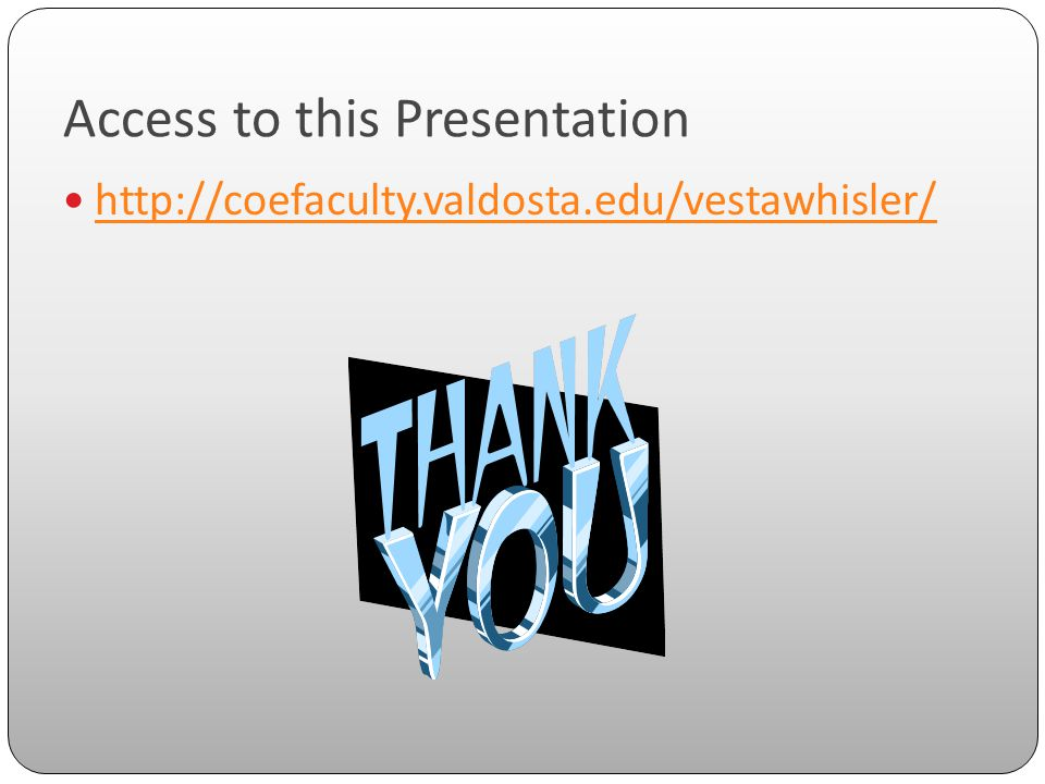 Access to this Presentation http://coefaculty.valdosta.edu/vestawhisler/