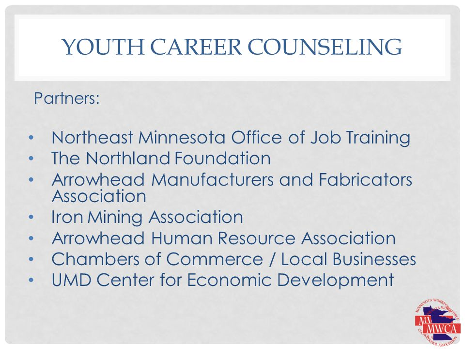 YOUTH CAREER COUNSELING Partners: Northeast Minnesota Office of Job Training The Northland Foundation Arrowhead Manufacturers and Fabricators Association Iron Mining Association Arrowhead Human Resource Association Chambers of Commerce / Local Businesses UMD Center for Economic Development