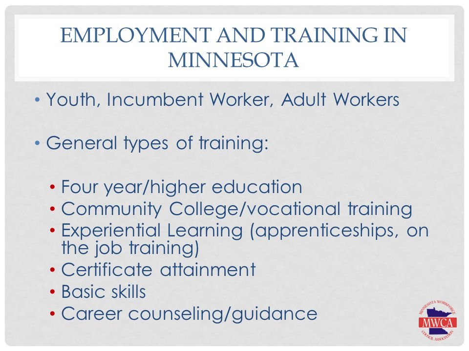 EMPLOYMENT AND TRAINING IN MINNESOTA Youth, Incumbent Worker, Adult Workers General types of training: Four year/higher education Community College/vocational training Experiential Learning (apprenticeships, on the job training) Certificate attainment Basic skills Career counseling/guidance