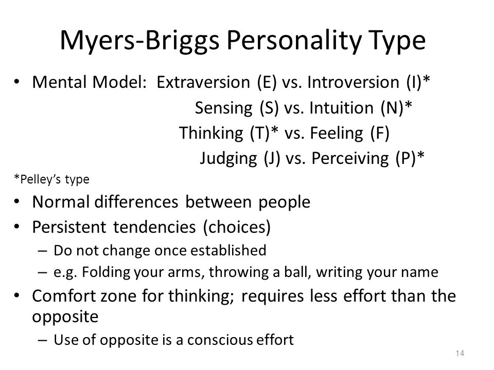 Myers-Briggs Personality Type Mental Model: Extraversion (E) vs.
