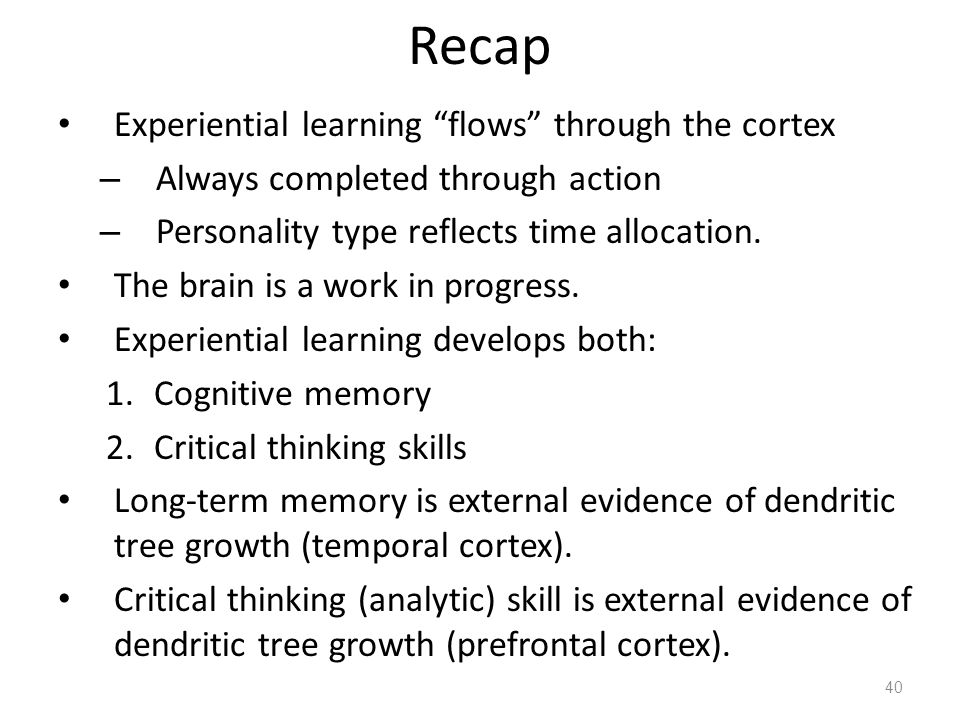 Recap Experiential learning flows through the cortex – Always completed through action – Personality type reflects time allocation.