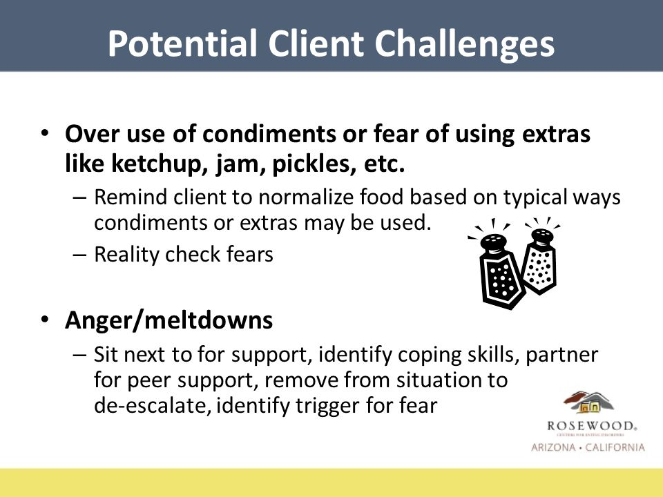 Potential Client Challenges Over use of condiments or fear of using extras like ketchup, jam, pickles, etc.