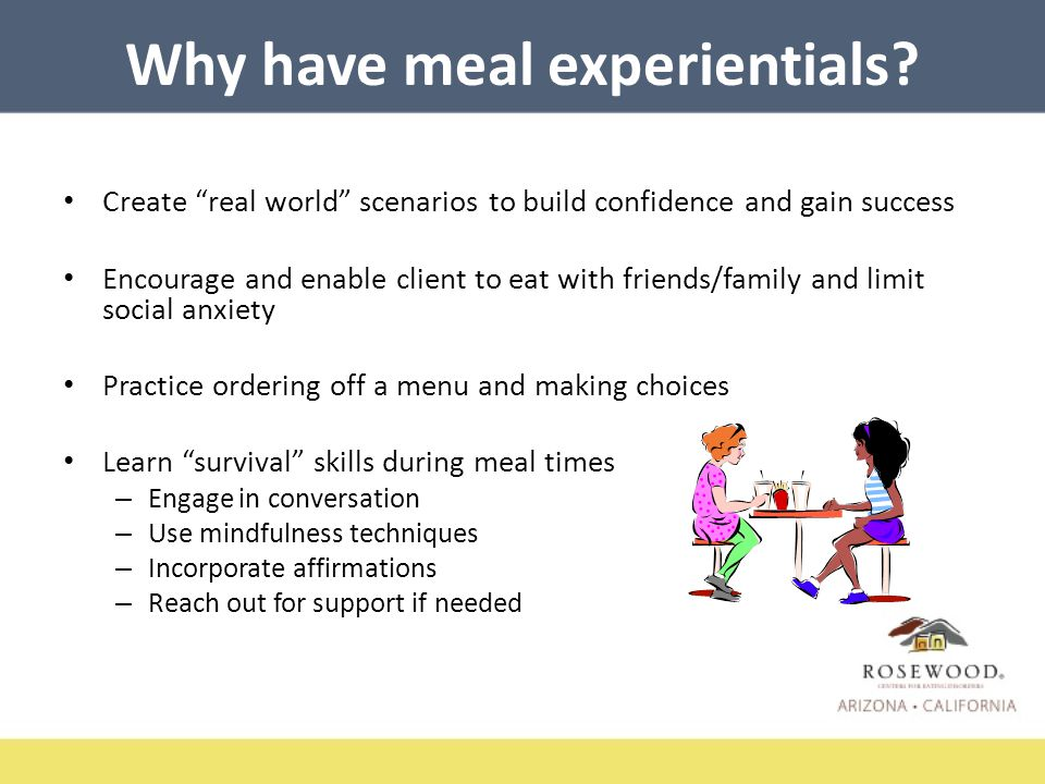 Types of Meals & Experiences Buffet style, serve self or others serve you Share a meal-requires using voice and negotiations Pizza, Chinese, calzones Seasonal foods – incorporate fall, summer, veg/fruits or other traditional foods Grocery store – plan, shop, prepare food
