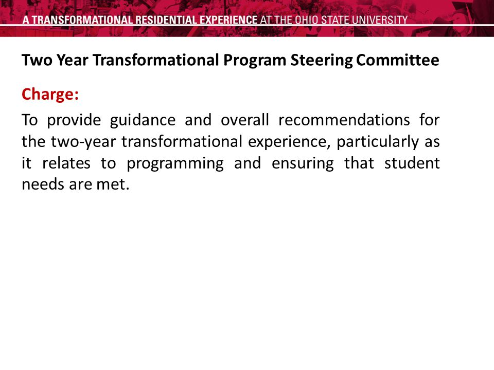 Charge: To provide guidance and overall recommendations for the two-year transformational experience, particularly as it relates to programming and ensuring that student needs are met.