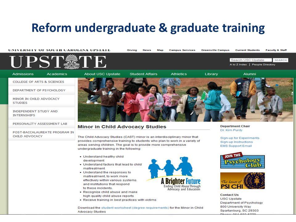 Undergraduate & Graduate reforms 26 undergraduate programs 3 law school courses An emerging online LLM 1 medical school program 1 residency curriculum 2 seminary programs