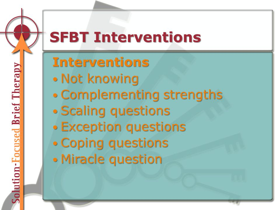 SFBT Interventions Interventions Not knowing Not knowing Complementing strengths Complementing strengths Scaling questions Scaling questions Exception questions Exception questions Coping questions Coping questions Miracle question Miracle question