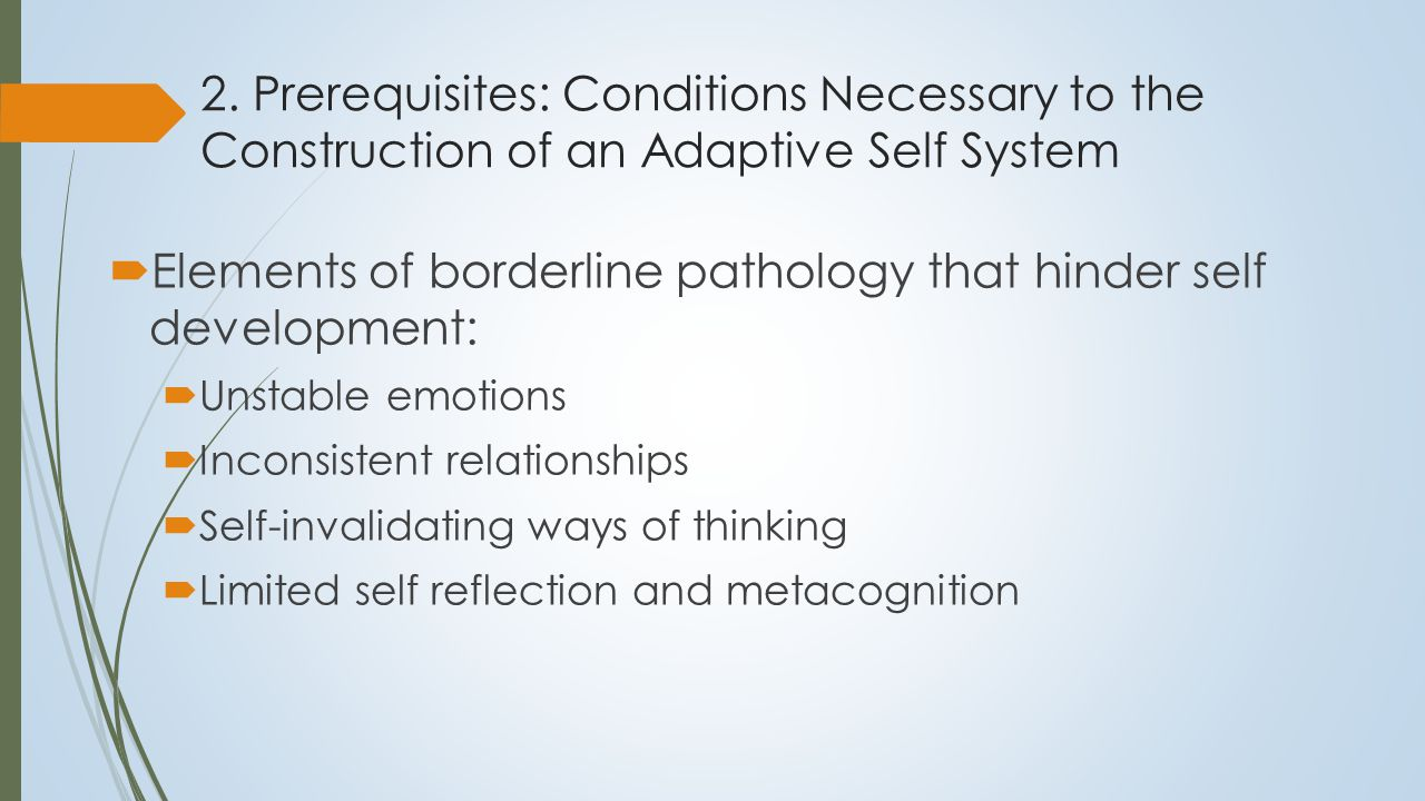 2. Prerequisites: Conditions Necessary to the Construction of an Adaptive Self System  Elements of borderline pathology that hinder self development: