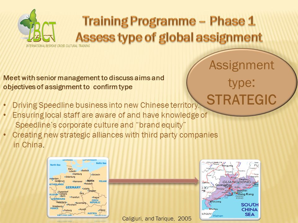 Training Programme – Phase 3 (Goals and measures) Training Programme – Phase 3 (Goals and measures) Longer- term Goals Continual improvement plan Repatriation planning Set the standard for future assignments Handling of reverse culture shock Assignment hand-over after 2 years