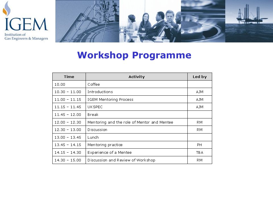 Introductions Including: Past experience of the mentoring process What you would like from the workshop