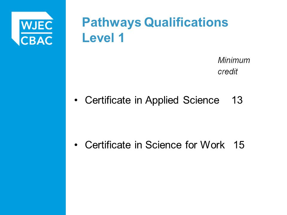 Pathways Qualifications Level 1 Minimum credit Certificate in Applied Science 13 Certificate in Science for Work 15