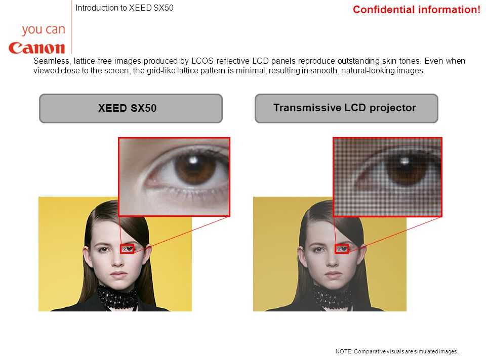 Seamless, lattice-free images produced by LCOS reflective LCD panels reproduce outstanding skin tones.