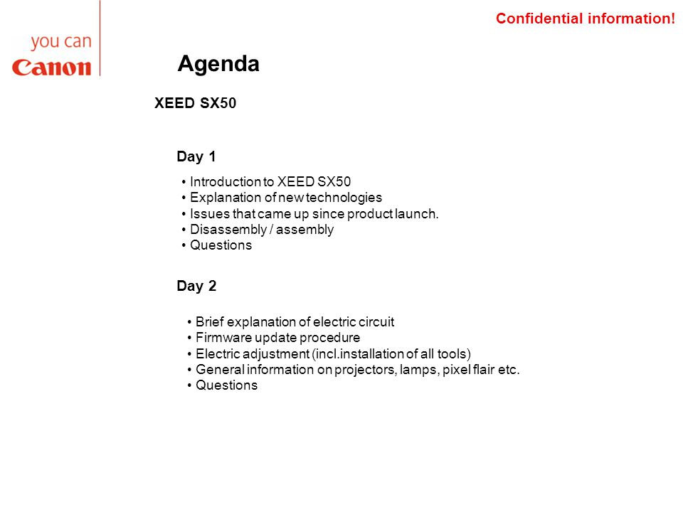 Agenda XEED SX50 Introduction to XEED SX50 Explanation of new technologies Issues that came up since product launch.