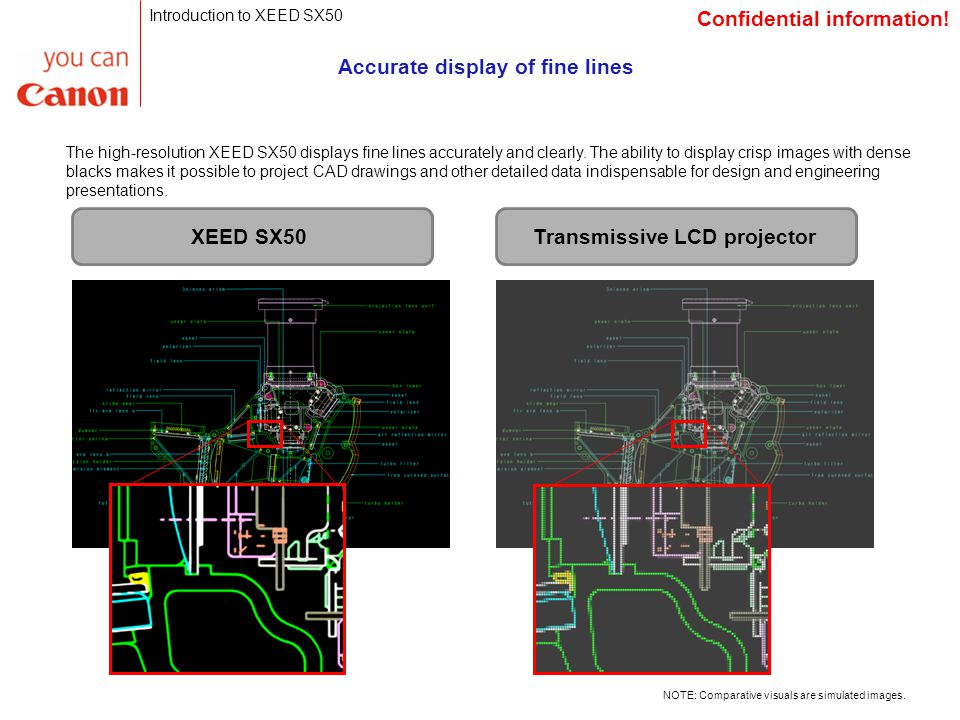 Accurate display of fine lines The high-resolution XEED SX50 displays fine lines accurately and clearly.