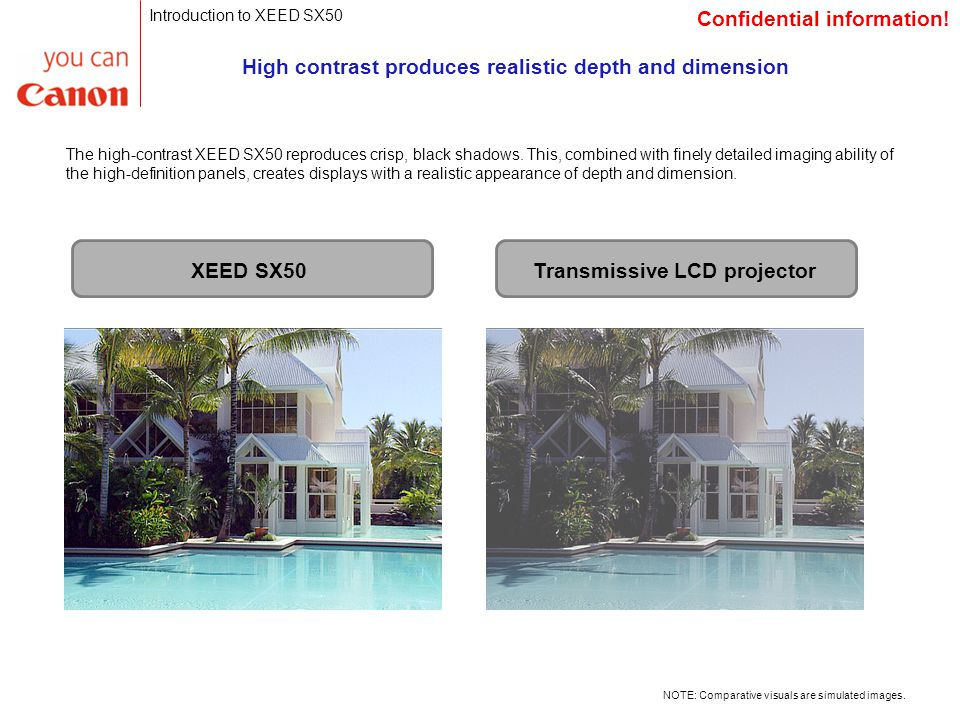 High contrast produces realistic depth and dimension The high-contrast XEED SX50 reproduces crisp, black shadows.