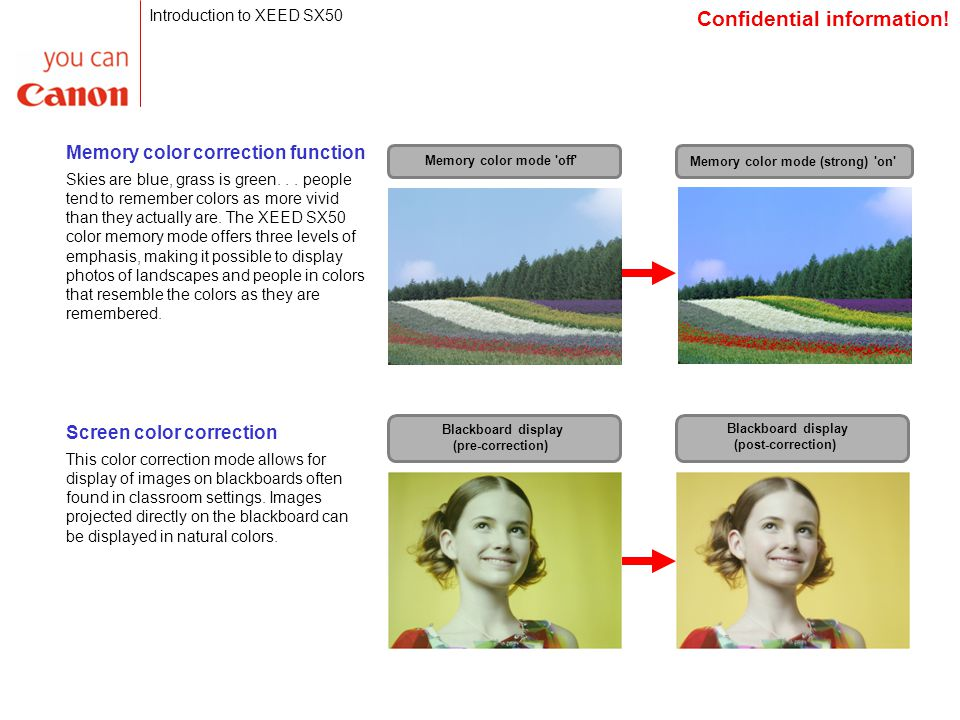 Screen color correction This color correction mode allows for display of images on blackboards often found in classroom settings.