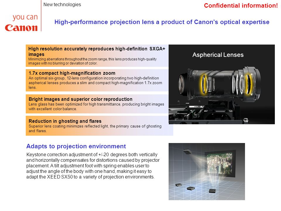 Aspherical Lenses High-performance projection lens a product of Canon s optical expertise High resolution accurately reproduces high-definition SXGA+ images Minimizing aberrations throughout the zoom range, this lens produces high-quality images with no blurring or deviation of color.
