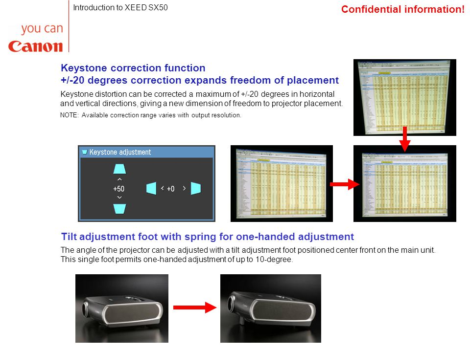 Keystone correction function +/-20 degrees correction expands freedom of placement Keystone distortion can be corrected a maximum of +/-20 degrees in horizontal and vertical directions, giving a new dimension of freedom to projector placement.