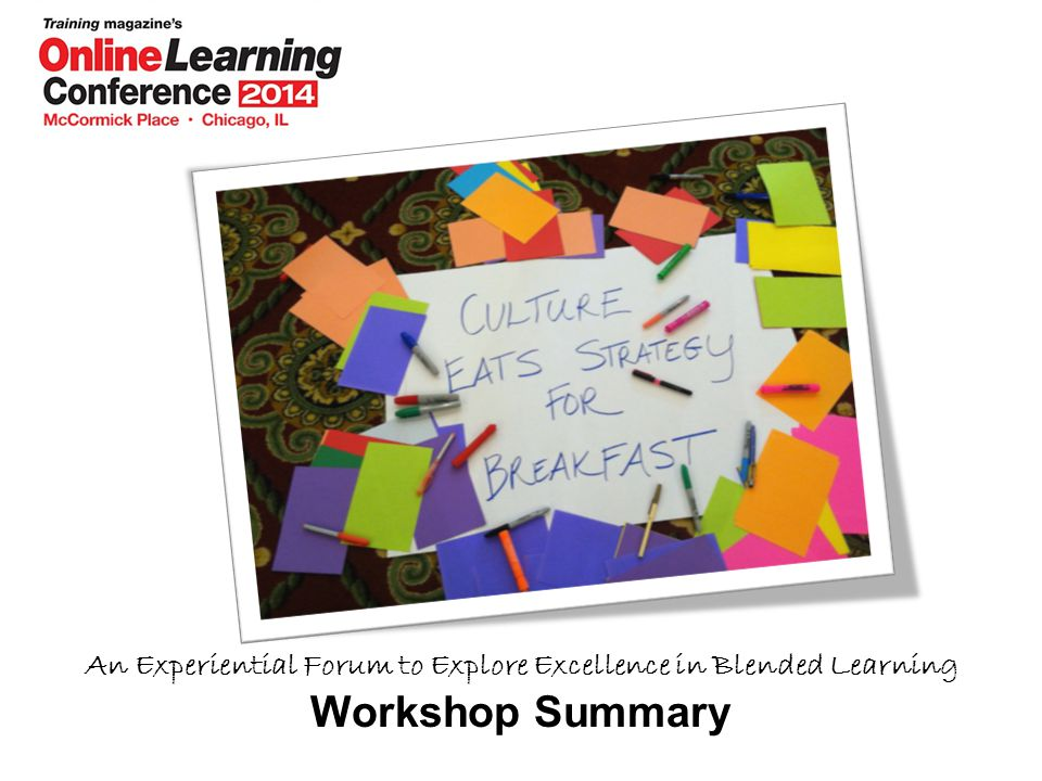 An Experiential Forum to Explore Excellence in Blended Learning Workshop Summary