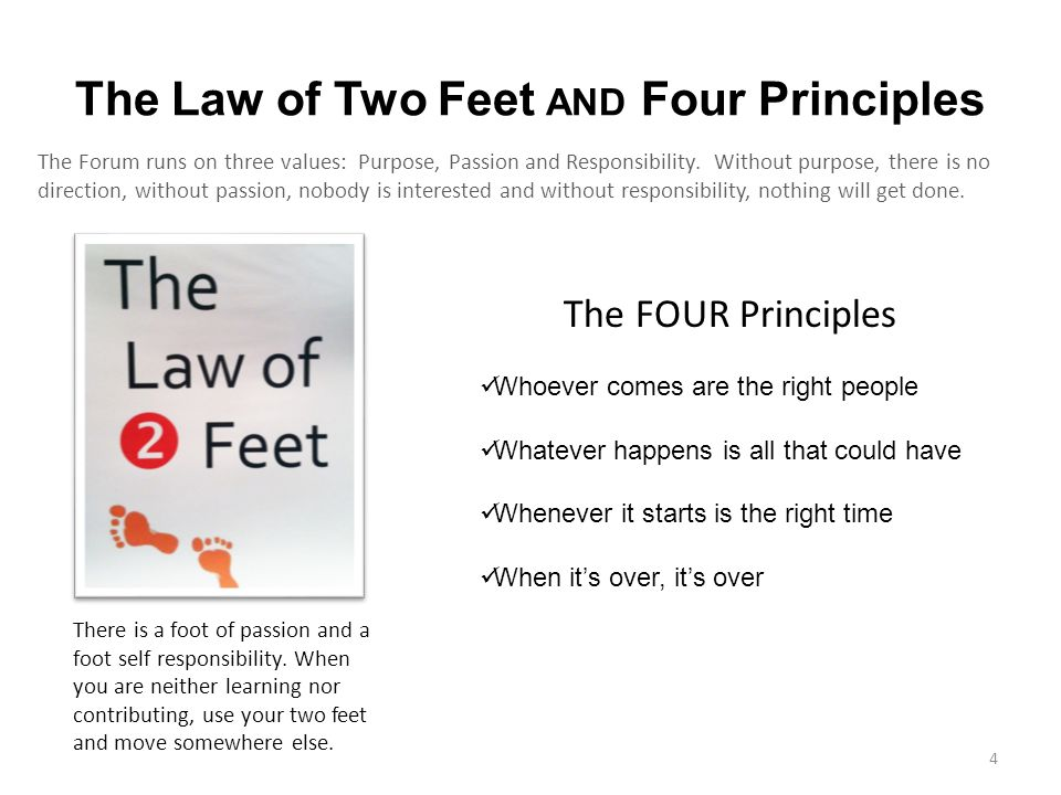 The Law of Two Feet AND Four Principles The Forum runs on three values: Purpose, Passion and Responsibility.
