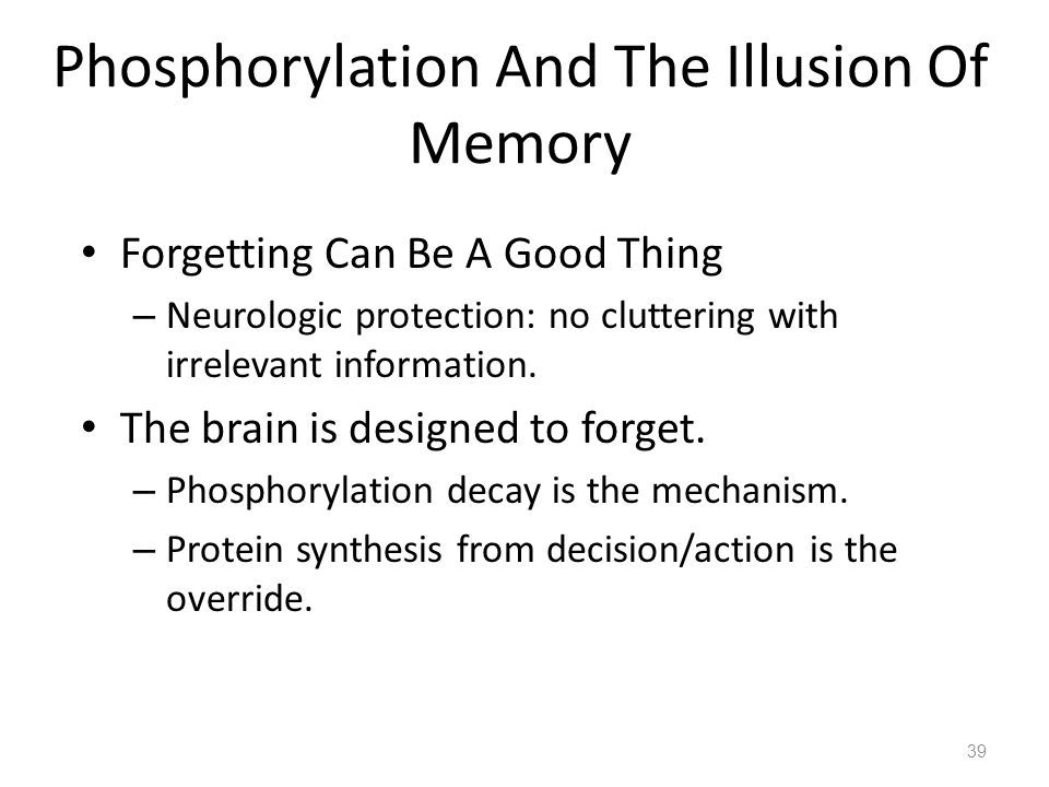 39 Phosphorylation And The Illusion Of Memory Forgetting Can Be A Good Thing – Neurologic protection: no cluttering with irrelevant information.