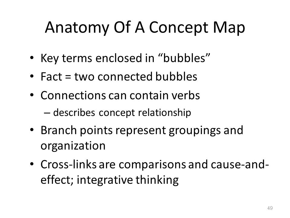 Anatomy Of A Concept Map Key terms enclosed in bubbles Fact = two connected bubbles Connections can contain verbs – describes concept relationship Branch points represent groupings and organization Cross-links are comparisons and cause-and- effect; integrative thinking 49