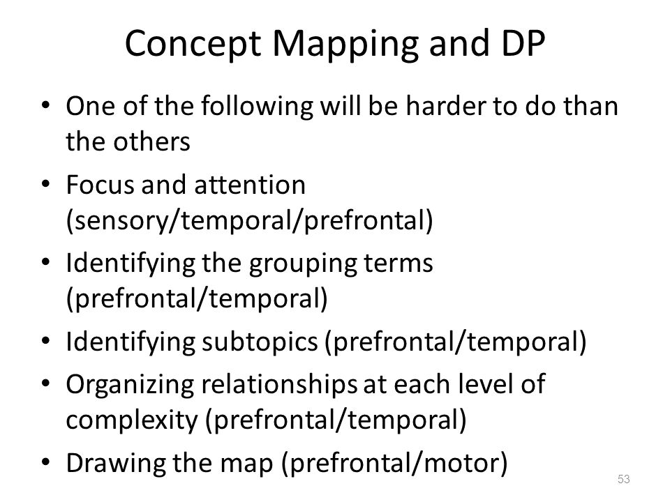 Concept Mapping and DP One of the following will be harder to do than the others Focus and attention (sensory/temporal/prefrontal) Identifying the grouping terms (prefrontal/temporal) Identifying subtopics (prefrontal/temporal) Organizing relationships at each level of complexity (prefrontal/temporal) Drawing the map (prefrontal/motor) 53