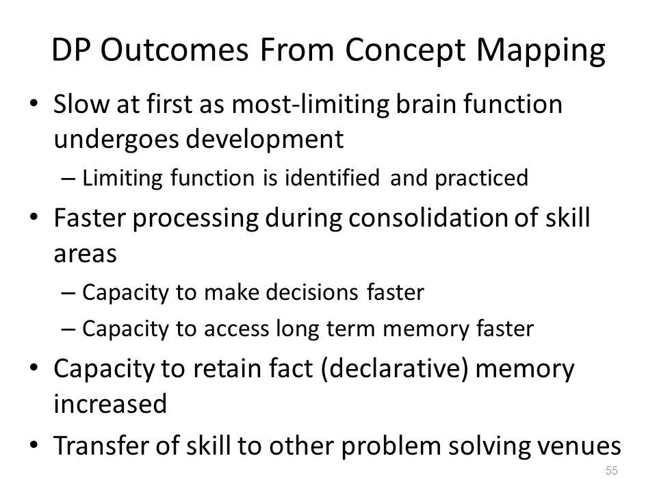DP Outcomes From Concept Mapping Slow at first as most-limiting brain function undergoes development – Limiting function is identified and practiced Faster processing during consolidation of skill areas – Capacity to make decisions faster – Capacity to access long term memory faster Capacity to retain fact (declarative) memory increased Transfer of skill to other problem solving venues 55
