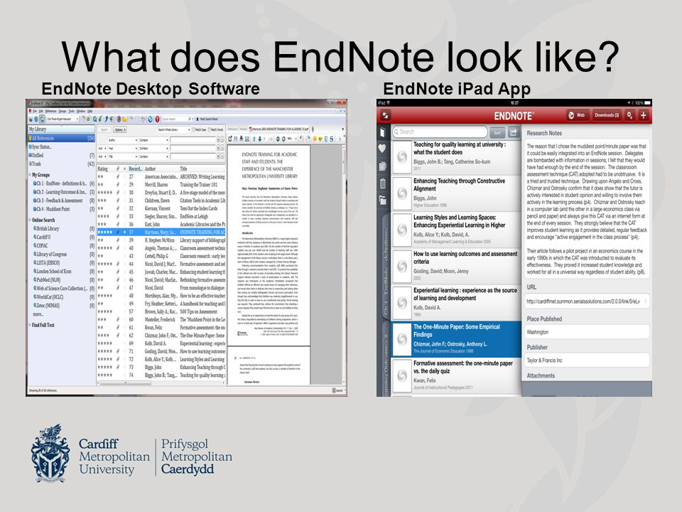 EndNote & Digital Literacy In context of growing digital collections / web technologies, these tools are out there Staff & students place importance on learning them (Kharbach, 2014) Teach EndNote but also teach the process – IN, SORT, OUT Growing Web 2.0 functionality – reference sharing & collaboration e.g.