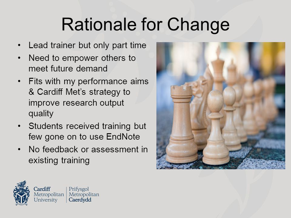 Rationale for Change Lead trainer but only part time Need to empower others to meet future demand Fits with my performance aims & Cardiff Met's strategy to improve research output quality Students received training but few gone on to use EndNote No feedback or assessment in existing training
