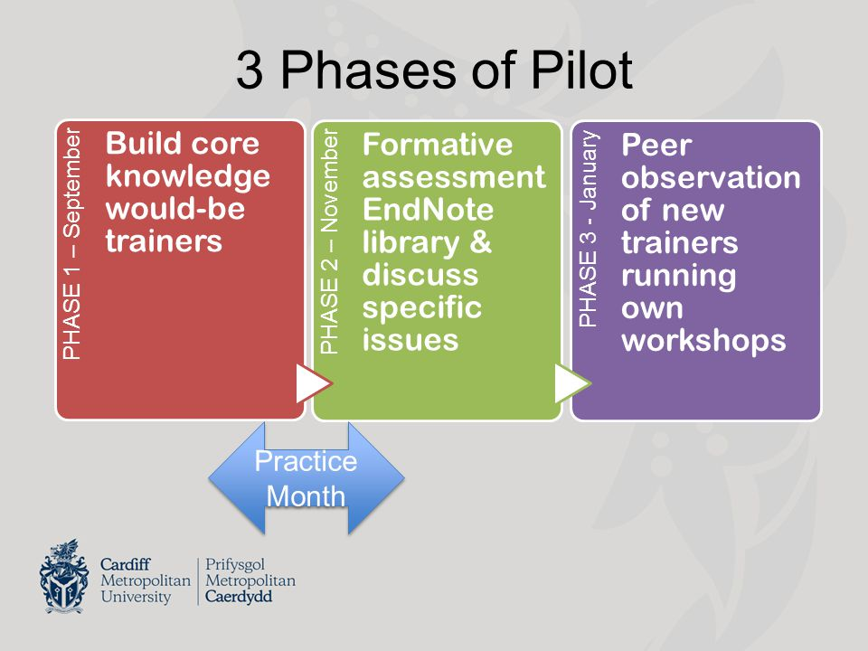 3 Phases of Pilot PHASE 1 – September Build core knowledge would-be trainers PHASE 2 – November Formative assessment EndNote library & discuss specific issues PHASE 3 - January Peer observation of new trainers running own workshops Practice Month