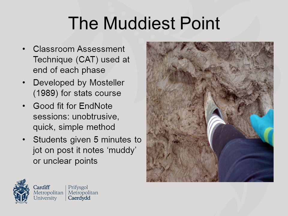The Muddiest Point Classroom Assessment Technique (CAT) used at end of each phase Developed by Mosteller (1989) for stats course Good fit for EndNote sessions: unobtrusive, quick, simple method Students given 5 minutes to jot on post it notes 'muddy' or unclear points
