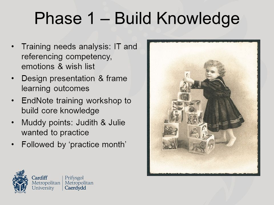 Phase 2 – Assess 'Practice Month' Formative assessment of their EndNote libraries Discuss how delegates would adapt my slides I have brought my wellies to get knee-deep in muddy points (Julie) You only find out muddy points when you try the software and your memory needs to function (Judith) Explore concerns about their new trainer roles How do you get to Carnegie Hall.