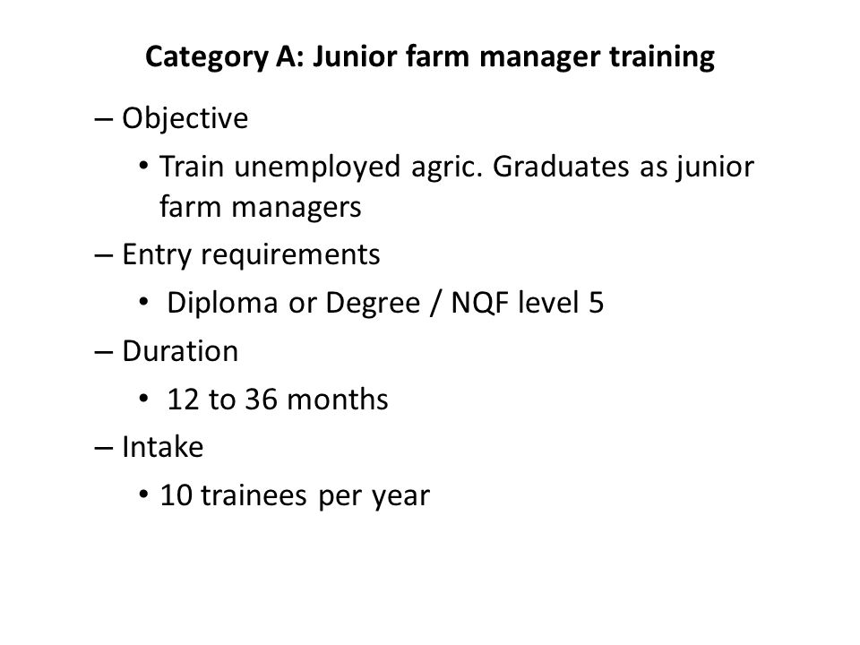 Category A: Junior farm manager training – Objective Train unemployed agric.