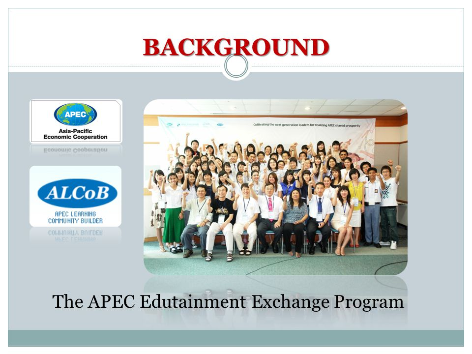 Conclusion The Thai-Korean Edutainment Exchange Program could be implemented in an international student exchange program between Thailand and South Korea because it was constructed with a theory-based format: project based learning, collaborative learning, blended learning, research studies on edutainment, and The APEC Edutainment Exchange Program.