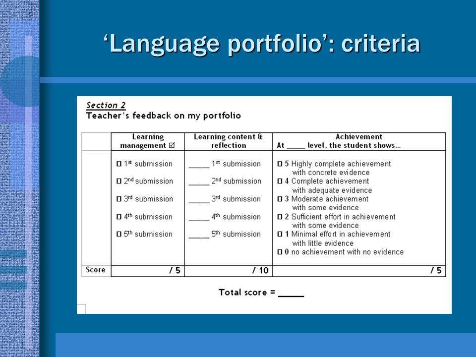 'Language portfolio': criteria