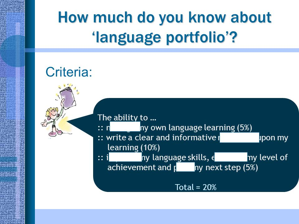 How much do you know about 'language portfolio'.