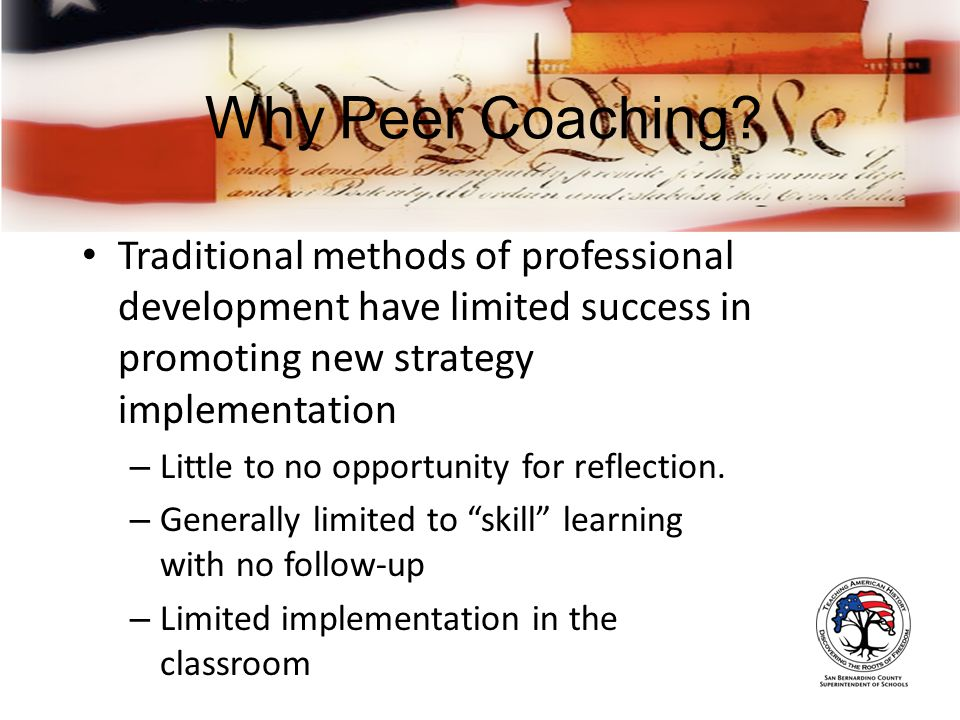 Why Peer Coaching.