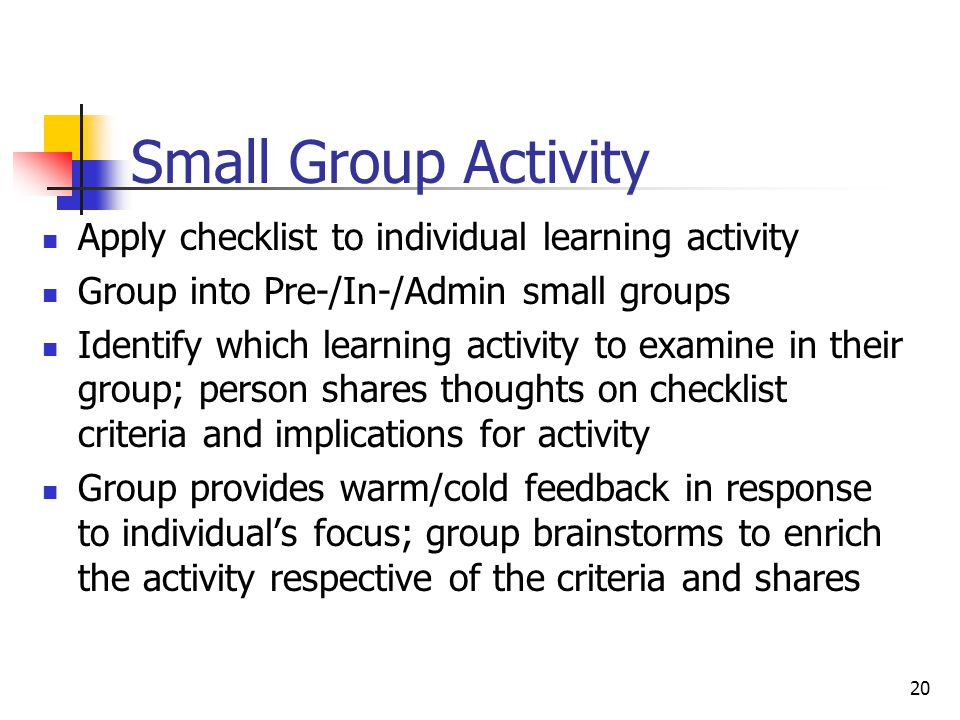 Small Group Activity Apply checklist to individual learning activity Group into Pre-/In-/Admin small groups Identify which learning activity to examin