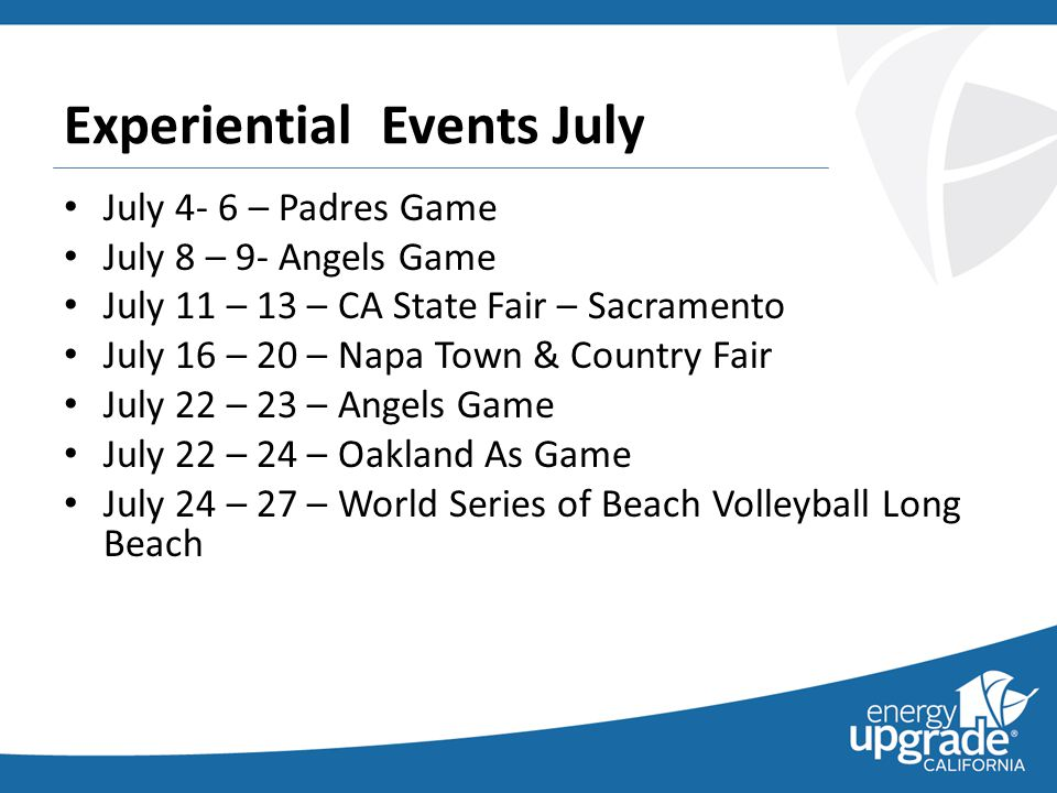 Experiential Events Update