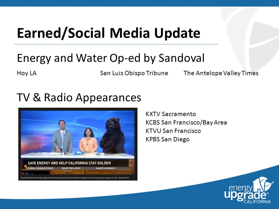 Earned/Social Media Update Energy and Water Op-ed by Sandoval Hoy LASan Luis Obispo TribuneThe Antelope Valley Times TV & Radio Appearances KXTV Sacramento KCBS San Francisco/Bay Area KTVU San Francisco KPBS San Diego