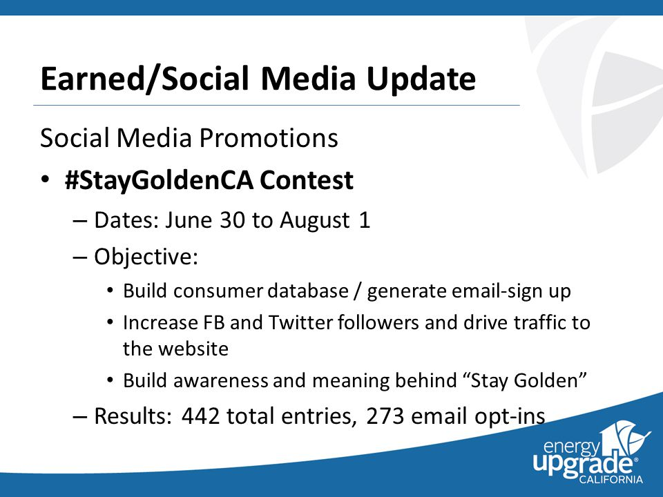 Earned/Social Media Update Social Media Promotions #StayGoldenCA Contest – Dates: June 30 to August 1 – Objective: Build consumer database / generate email-sign up Increase FB and Twitter followers and drive traffic to the website Build awareness and meaning behind Stay Golden – Results: 442 total entries, 273 email opt-ins