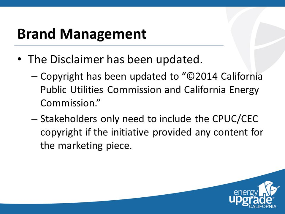 Brand Management The Disclaimer has been updated.