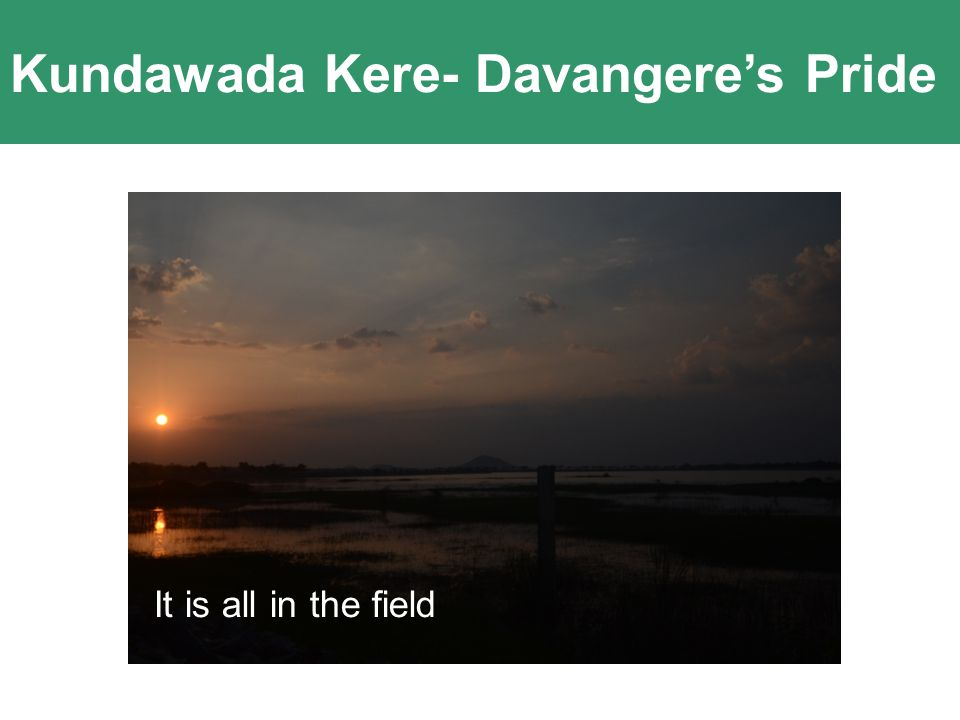 Kundawada Kere- Davangere's Pride Innovation comes out of Passion and Clarity of Purpose It is all in the field