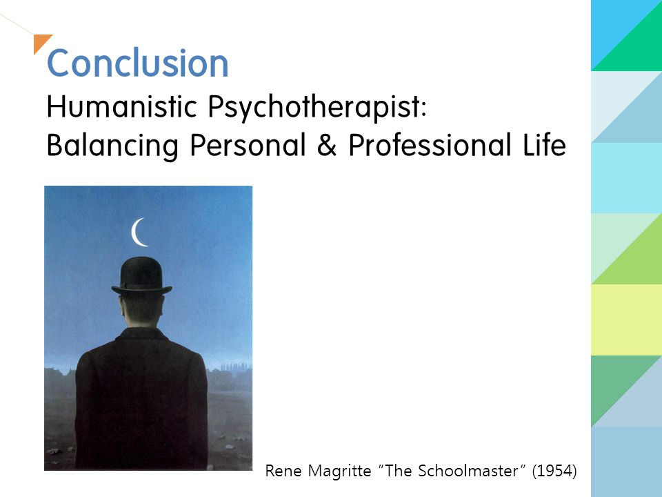 Conclusion Humanistic Psychotherapist: Balancing Personal & Professional Life Rene Magritte The Schoolmaster (1954)
